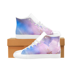 Sakura Cherry Blossom Spring Heaven Light Beauty Aquila High Top Microfiber Leather Women's Shoes (Model 032)