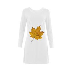 Maple Leaf Canada Autumn Yellow Fall Flora Cool Demeter Long Sleeve Nightdress (Model D03)