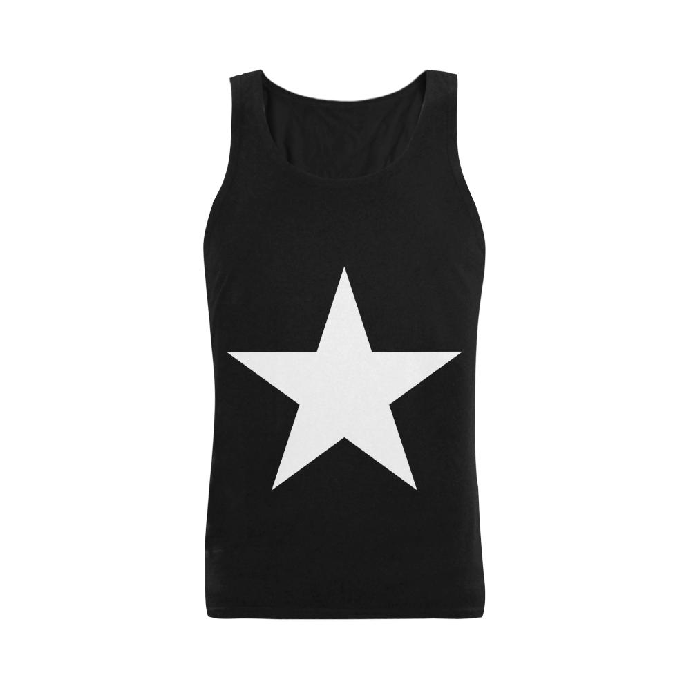 White Star Patriot America Symbol Cool Trendy Men's Shoulder-Free Tank Top (Model T33)