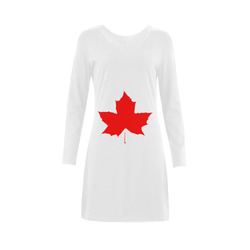 Maple Leaf Canada Autumn Red Fall Flora Nature Demeter Long Sleeve Nightdress (Model D03)