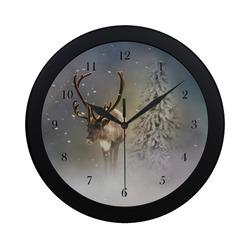 Santa Claus Reindeer in the snow Circular Plastic Wall clock