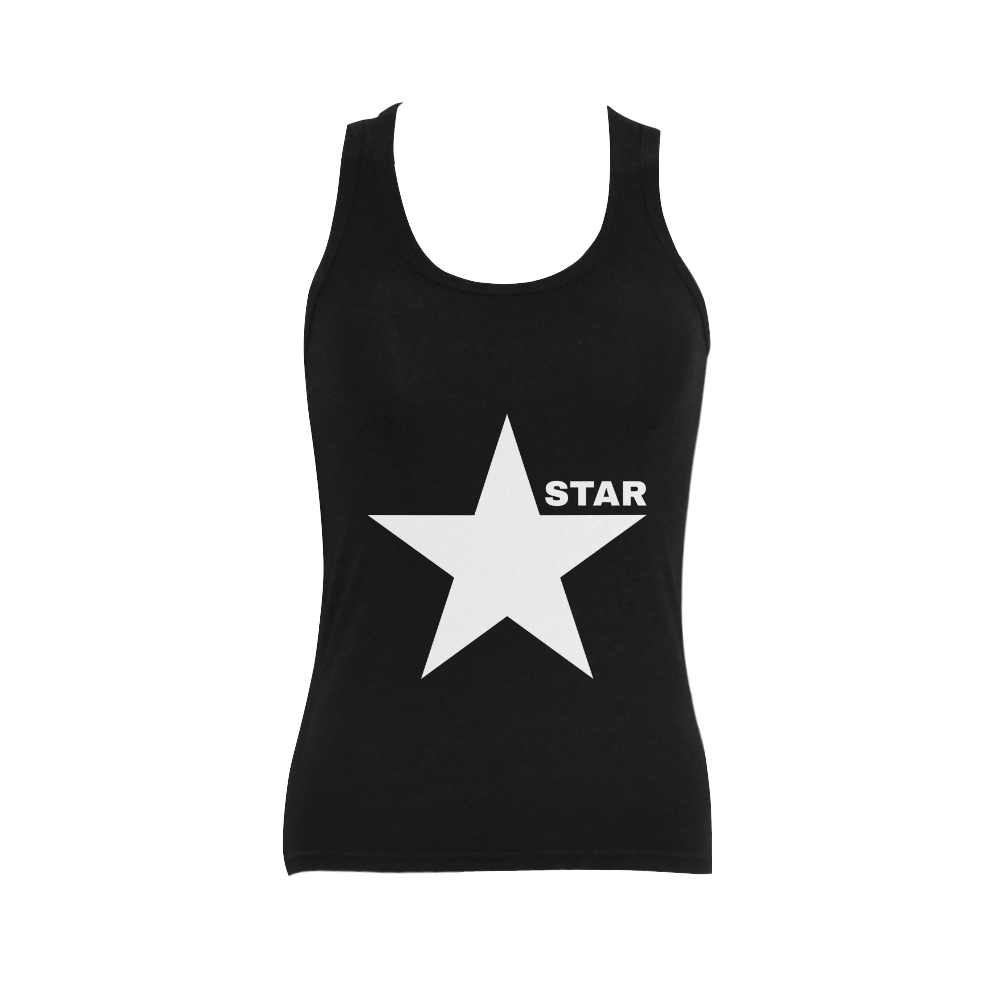 White Star Patriot America Symbol Freedom Strong Women's Shoulder-Free Tank Top (Model T35)