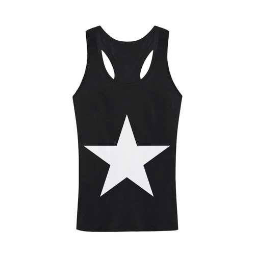White Star Patriot America Symbol Cool Trendy Plus-size Men's I-shaped Tank Top (Model T32)