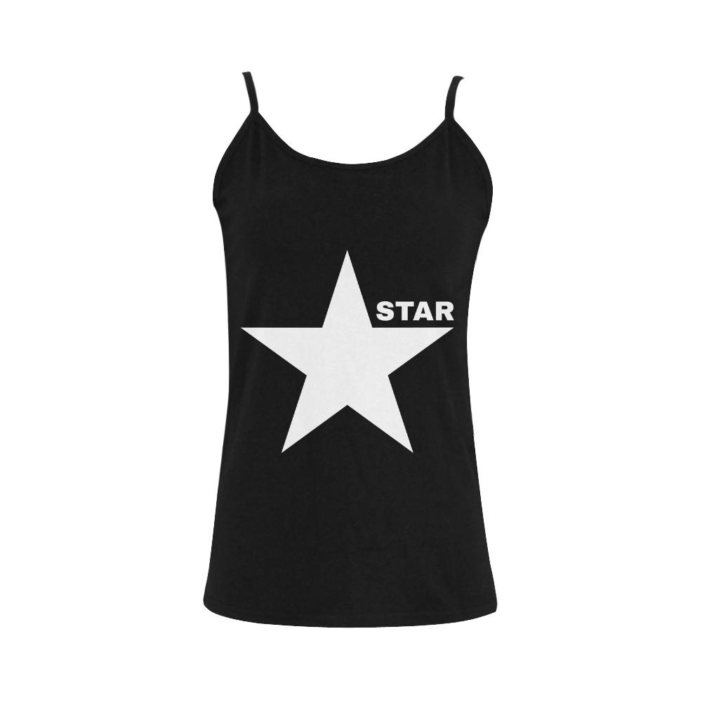 White Star Patriot America Symbol Freedom Strong Women's Spaghetti Top (USA Size) (Model T34)