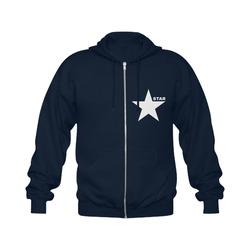White Star Patriot America Symbol Freedom Strong Gildan Full Zip Hooded Sweatshirt (Model H02)