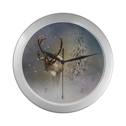 Santa Claus Reindeer in the snow Silver Color Wall Clock