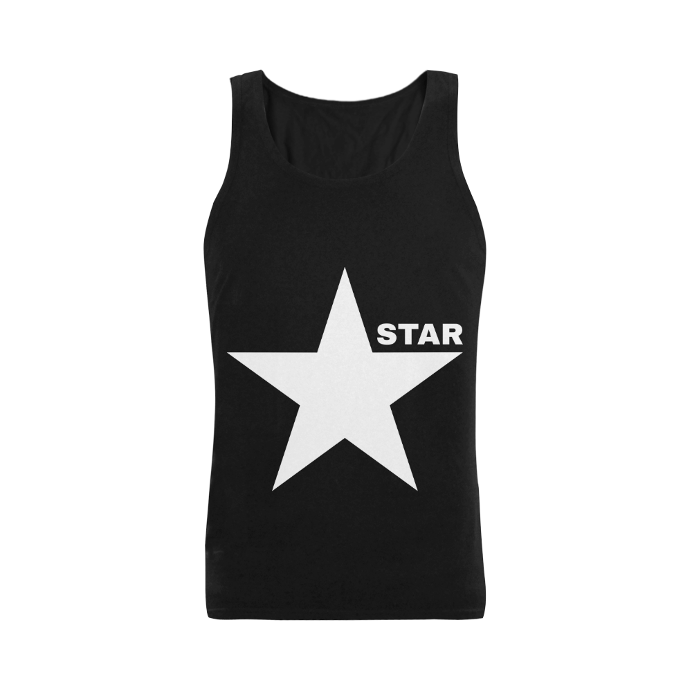 White Star Patriot America Symbol Freedom Strong Plus-size Men's Shoulder-Free Tank Top (Model T33)