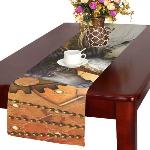 Steampunk, awesome steampunk horse Table Runner 14x72 inch