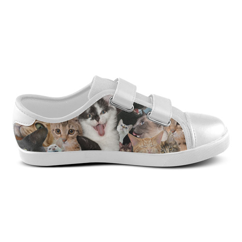 Crazy Kitten Show Velcro Canvas Kid's Shoes (Model 008)