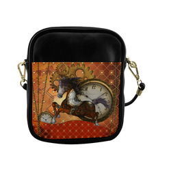 Steampunk, awesome steampunk horse Sling Bag (Model 1627)