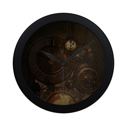 Vintage gothic brown steampunk clocks and gears Circular Plastic Wall clock
