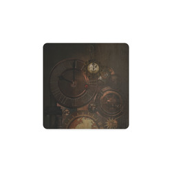 Vintage gothic brown steampunk clocks and gears Square Coaster