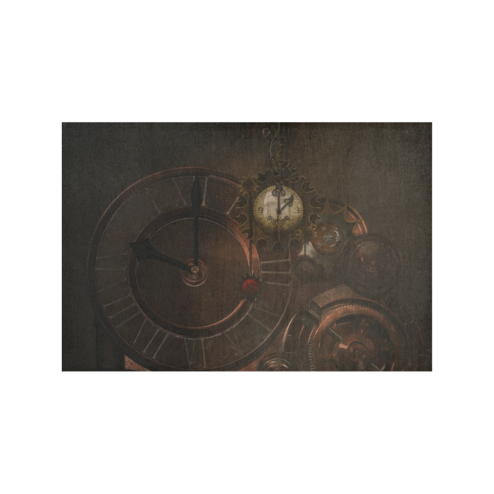 Vintage gothic brown steampunk clocks and gears Placemat 12'' x 18'' (Four Pieces)