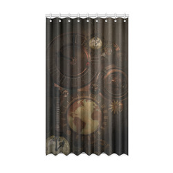 """Vintage gothic brown steampunk clocks and gears Window Curtain 50"""" x 84""""(One Piece)"""