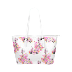 floral paris purse Leather Tote Bag/Large (Model 1651)