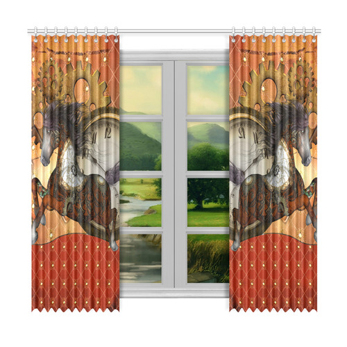 """Steampunk, awesome steampunk horse Window Curtain 50""""x96""""(Two Piece)"""