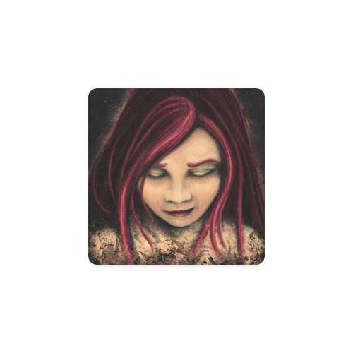Red haired girl Square Coaster
