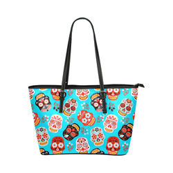 Sugar Skull Day of the Dead Floral Pattern Leather Tote Bag/Large (Model 1651)