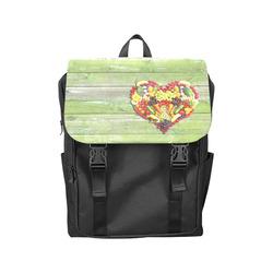 Vegan Love Heart Green Wood Casual Shoulders Backpack (Model 1623)