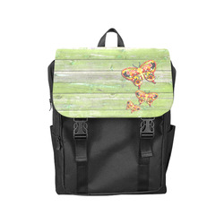 Dancing Butterflies Love Vegan Green Wood Casual Shoulders Backpack (Model 1623)