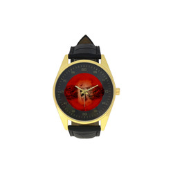 Creepy skulls on red background Men's Golden Leather Strap Watch(Model 210)