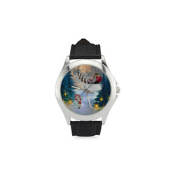 Santa Claus in the night Women's Classic Leather Strap Watch(Model 203)