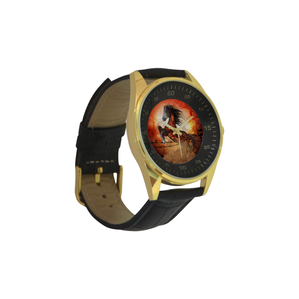 Awesome creepy horse with skulls Men's Golden Leather Strap Watch(Model 210)