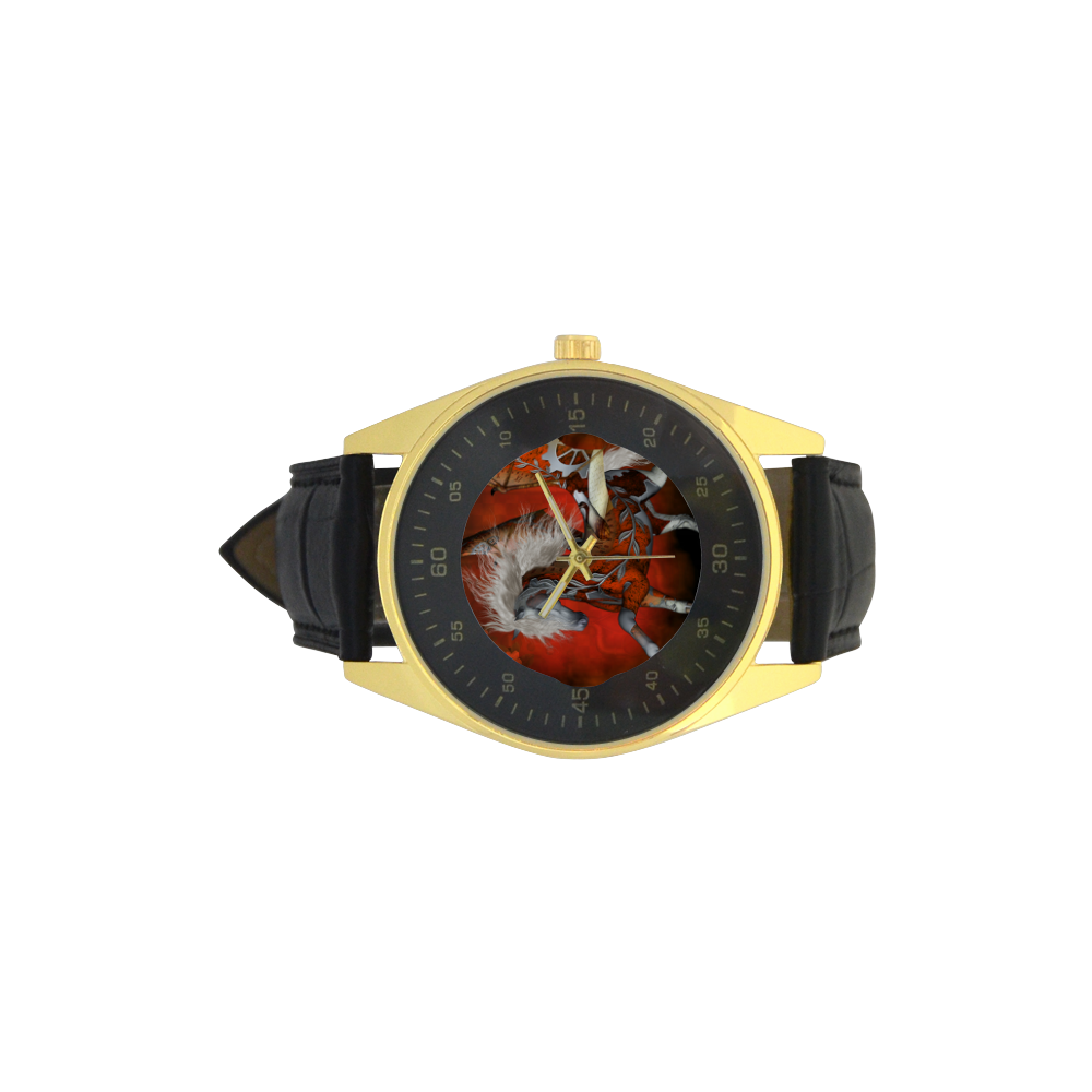 Awesome steampunk horse with wings Men's Golden Leather Strap Watch(Model 210)