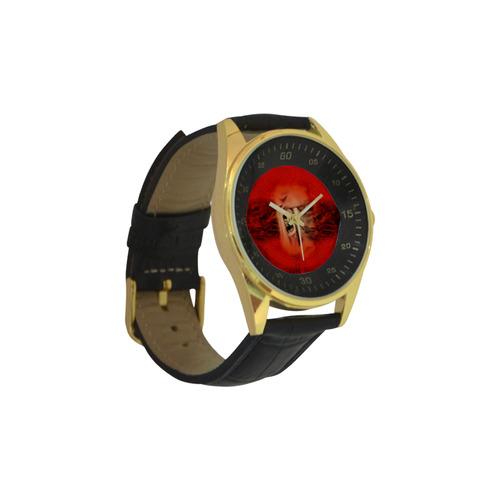 Creepy skulls on red background Men's Golden Leather Strap Watch(Model 210)