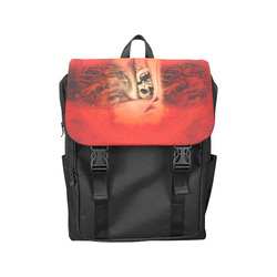 Creepy skulls on red background Casual Shoulders Backpack (Model 1623)
