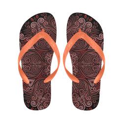 Red, orange, pink and brown 3D Mandala Pattern Flip Flops for Men/Women (Model 040)