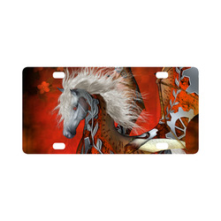 Awesome steampunk horse with wings Classic License Plate