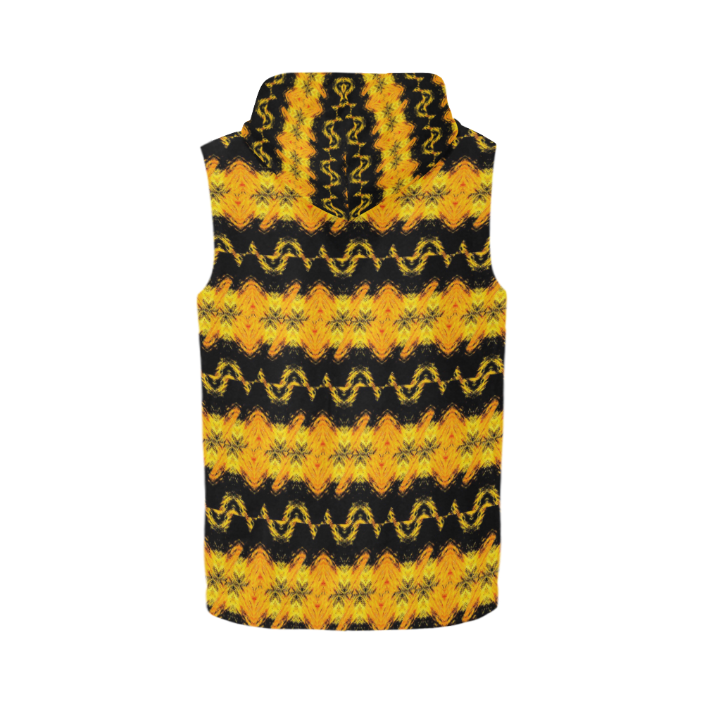 Yellow/Black Zip Sleevless Zip Up Hoodie All Over Print Sleeveless Zip Up Hoodie for Men (Model H16)