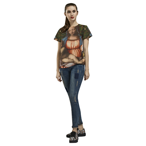 Madonna Of Roses From Bernardino Luini All Over Print T-Shirt for Women (USA Size) (Model T40)