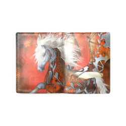 Awesome steampunk horse with wings Men's Leather Wallet (Model 1612)