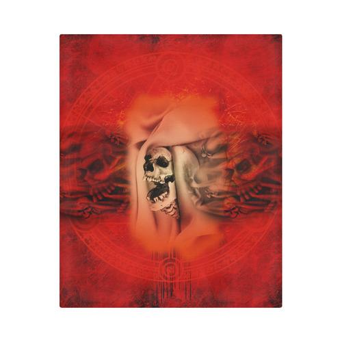 "Creepy skulls on red background Duvet Cover 86""x70"" ( All-over-print)"