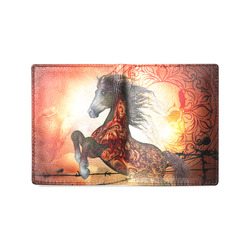 Awesome creepy horse with skulls Men's Leather Wallet (Model 1612)