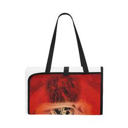 Creepy skulls on red background Portable & Foldable Mat 60''x78''