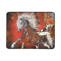 """Awesome steampunk horse with wings Beach Mat 78""""x 60"""""""