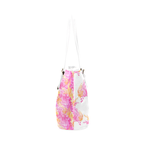floral watercolor reversible bag Leather Tote Bag/Large (Model 1651)