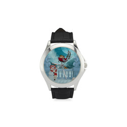 Funny snowman with Santa Claus Women's Classic Leather Strap Watch(Model 203)