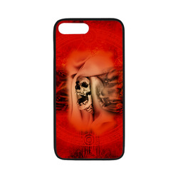 "Creepy skulls on red background Rubber Case for iPhone 7 plus (5.5"")"
