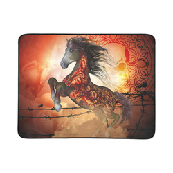 """Awesome creepy horse with skulls Beach Mat 78""""x 60"""""""