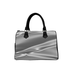 Metallic grey satin 3D texture Boston Handbag (Model 1621)