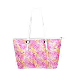 floral watercolor reversible bag Leather Tote Bag/Large (Model 1651)