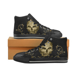 The golden skull High Top Canvas Women's Shoes/Large Size (Model 017)