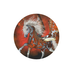 Awesome steampunk horse with wings Round Mousepad