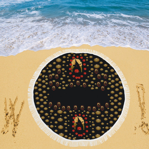 "pumkin witch in candles and white magic Circular Beach Shawl 59""x 59"""