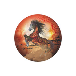 Awesome creepy horse with skulls Round Mousepad