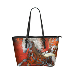 Awesome steampunk horse with wings Leather Tote Bag/Large (Model 1651)